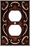 Brainerd 64266 French Lace Single Duplex Outlet Wall Plate / Switch Plate / Cover, Sponged Copper