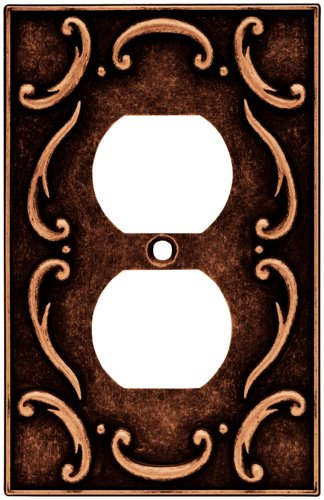 (Brainerd 64266 French Lace Single Duplex Outlet Wall Plate / Switch Plate / Cover, Sponged Copper)