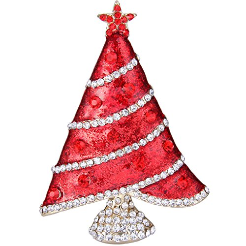 EVER FAITH Gold-Tone Austrian Crystal Enamel Shining Star Christmas Tree Brooch Ruby Color (Gold Tone Ruby Brooch)