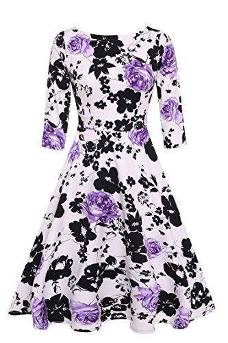 ACEVOG 50s Hepburn Style Vintage Long Sleeve Floral