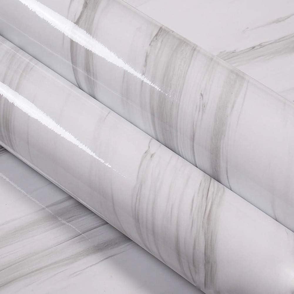 Huangzhiping Marbre Adh/ésif Vinyle Table Porte Autocollant Papier Peint pour Meubles D/écorative Cuisine Salle /à Manger Blanc Imperm/éable Huile Preuve 60cmx100cm
