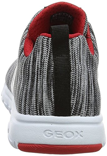Geox J Xunday L, Zapatillas Para Niños Gris (Lt Grey/red)