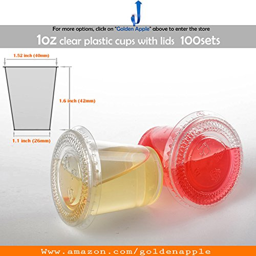 GOLDEN APPLE, 1oz Clear Plastic Jello Shot Souffle Cups with Lids, Sampling Cup (100 Sets) (Best Grape Jello Shots)
