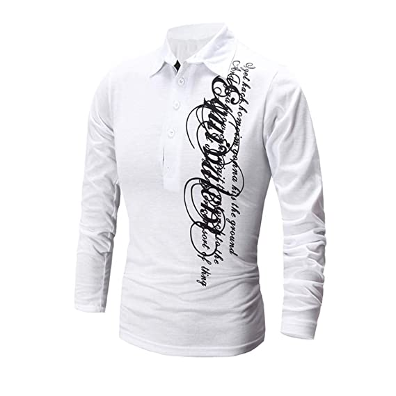 Yvelands Printing Tees Shirt Moda Hombre Slim Fit Camiseta Manga Larga Tops Blusa Suéter Chaqueta Camisa
