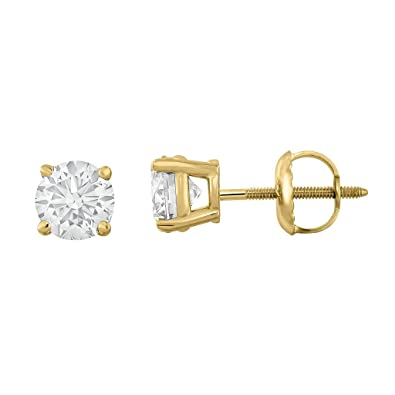 bdb133ae6 1/4 Carat TW Round Diamond Stud Earrings 14K Yellow Gold with Screw Backs  IGI