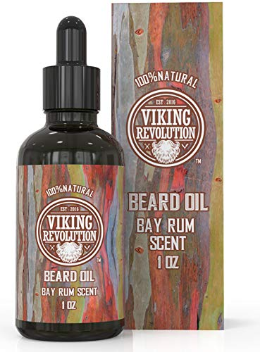 Bay Rum Beard Oil Conditioner- All Natural Bay Rum Scent Organic Argan & Jojoba Oils – Promotes Beard Growth – Softens & Strengthens Beards and Mustaches for Men (1 Pack)
