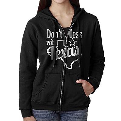 Don't Mess With Texas Heart Women's Active Comfy Full-Zip Hooded Sweatshirt