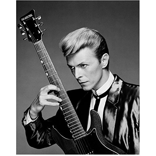 David Bowie Dressed in Silky Jacket and Bolo Tie Looking Sideways with Guitar Black and White 8 x 10 Inch -