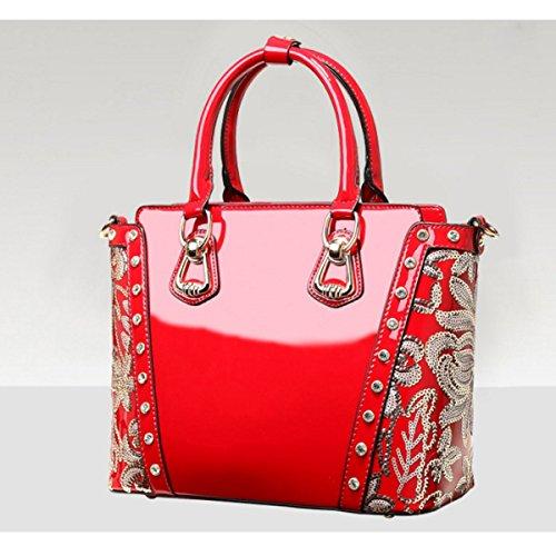 Mujer Bolso Bordado Bolsa De Charol Red