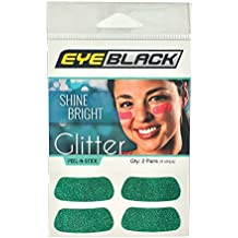 EyeBlack Glitter Strips, Perfect for Game Day and Tailgate, Green, 2 Pairs