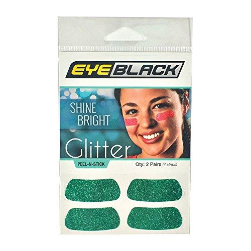EyeBlack Green Softball Glitter Eye Black Strips, 2 Pair -