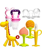 Baby Teething Toys 6Pcs Set with 2 Fruit Feeders BPA Free 3-6 Months Teethers Freezer Safe Soft Silicone Fruit Giraffe Teethers Set Gift for 6-12 Months Infant Newborn Girls and Boys