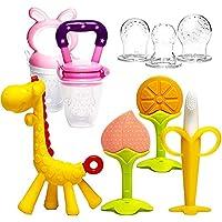 Baby Teething Toys 6Pcs Set with 2 Fruit Feeders BPA Free 3-6 Months Teethers Freezer Safe Soft Silicone Fruit Giraffe…