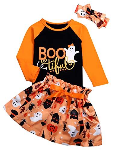 Baby Girl Halloween Outfit Ruffle Top Pumpkin Bat Ghost Witch Suspender Skirt Headband