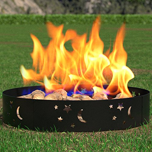 Firebowl Fireplace (Regal Flame Boston Backyard Garden Home Star and Moon Light Wood Fire Pit Fire Ring. For RV, Camping, and Outdoor Fireplace. Works as Firewood Patio Heater, Stove or Firebowl without Propane Gas)