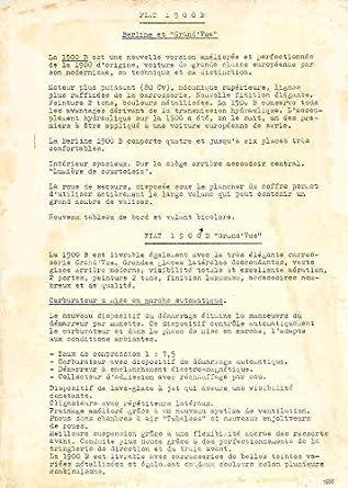 Amazon.com: 1956 Fiat 1900B Spec Sheet French: Entertainment Collectibles