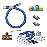 TableTop King 16100KIT72 Deluxe SnapFast 72'' Gas Connector Kit with Two Elbows and Restraining Cable - 1'' Diameter