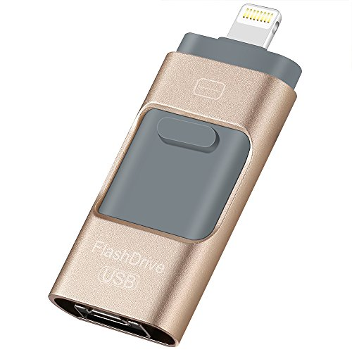 32 Gb Privacy Usb (USB Flash Drives for iPhone 32 GB 3.0 Pen-Drive Memory Storage 3 in 1, HMfire Otg Jump Drive Lightning Memory Stick External Storage, USB 3.0 Flash Drives for Apple IOS Android Computers (Gold))