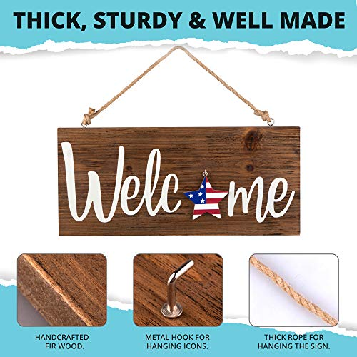 North Bird Interchangeable Welcome Sign for Front Door – Holiday Home Decor Sign With 8 Changeable Icons – Rustic Wooden…