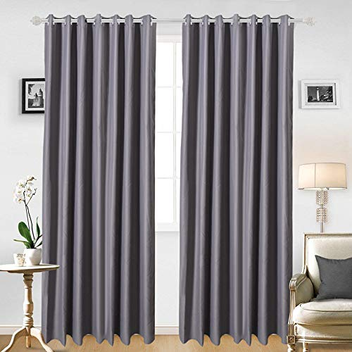 (JRing Blackout Curtain Window Curtain Panels Soft Fabric Thermal Insulated Drapes with Grommets for Living Room 2 Panels (Grey, 52W84L))