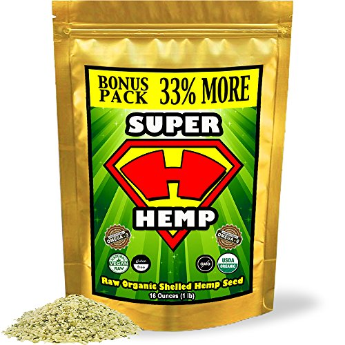 Hemp Seeds, Raw Shelled, Hemp Hearts, Organic, Non-GMO, Protien Packed, Hi-Fiber, Omega 3 & 6, Buttery & Delicious. Slightly Nutty Taste, Similar to a Sunflower Seed Canadian Grown (1 lb Bonus-Pack)