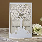 Picky Bride Romantic Love Couple Tree Wedding Invitations 5 x 7'' Off-white Invitation Pocket - Set of 50 pcs