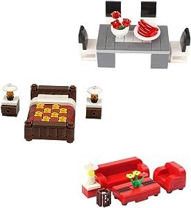 General Jim's Building Blocks Toy Bricks House Furniture Toy Set for Bedroom Living Room & Dining Room