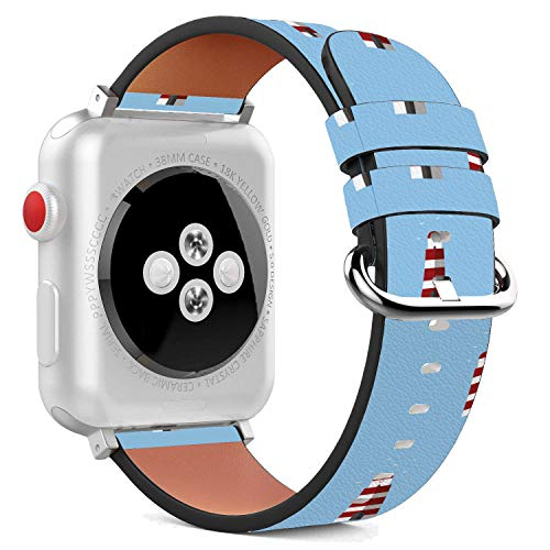 - Compatible with Apple Watch - 38mm Leather Wristband Bracelet with Stainless Steel Clasp and Adapters - Lighthouse Red White