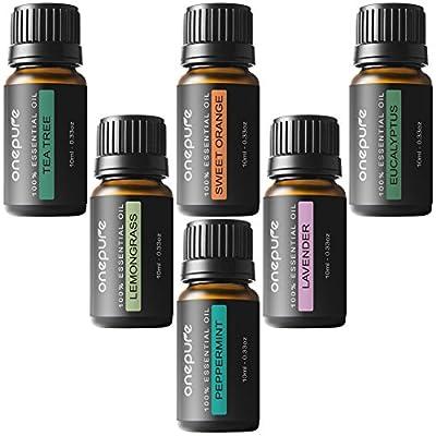 Onepure Aromatherapy Essential Oils Gift Set, 6 Bottles/ 10ml each, 100% Pure& Therapeutic Grade (Lavender, Tea Tree, Eucalyptus, Lemongrass, Sweet Orange, Peppermint)