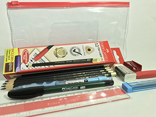 Faber-Castell Exam Set (11 items in 1) in Classic Clear Pouch | 2B Pencils + Sharpener + Eraser Cap + Mechanical Pencil + Lead + Ruler + Dust-Free Eraser + Ball Pen
