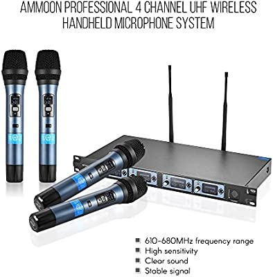 ammoon 4D Professional 4 Channel UHF Wireless Handheld