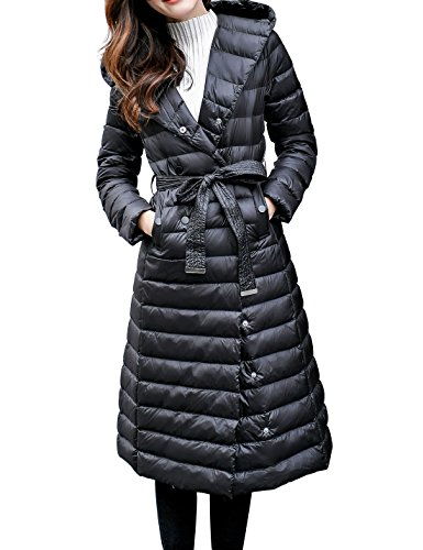 Gihuo Women's Lightweight Double-Breasted Long Down Jacket Hooded Puffer Coat With Belt (Small, Black) (Double Breasted Coat Jacket)