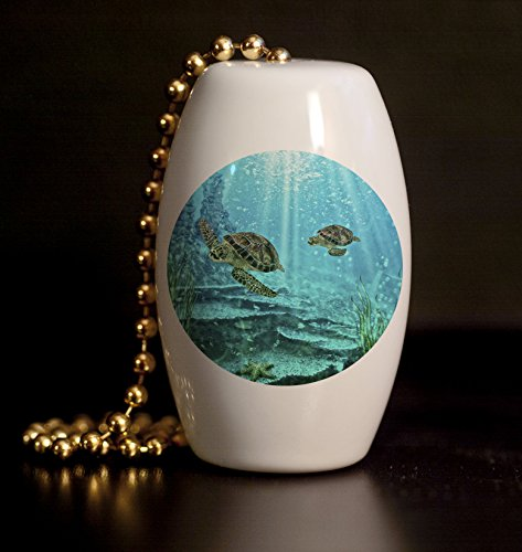 Mother and Baby Sea Turtle Porcelain Fan / Light Pull ()
