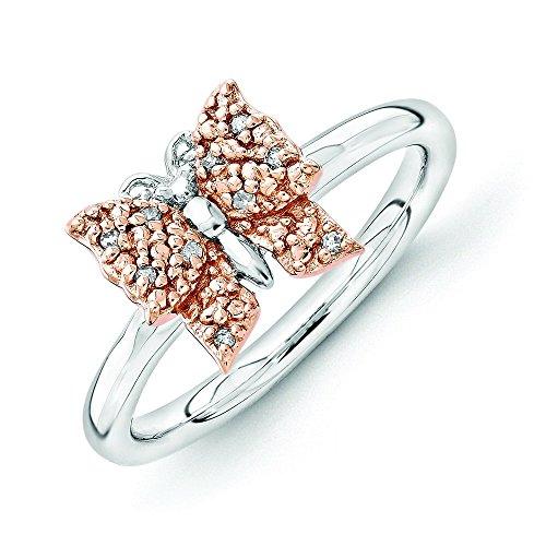 2,25mm en argent sterling et 14carats rg-plated empilable Expressions Diamant Papillon Rin-25centimete