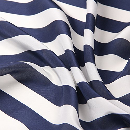 100% Pure Silk Crepe De Chine Fabric with Navy Blue and White Striped Print By The Yard, 53