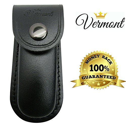 Vermont Leather Sheath for Utility Knife and Multitools - Carrying Pouch. Fits Folding Knives, and Box Cutters up to 4