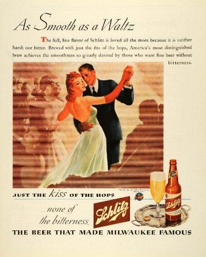 1943 Ad Joseph Schlitz Beer Bottle Hops Waltz Ballroom Dancing Alcohol Milwaukee - Original Print Ad by...