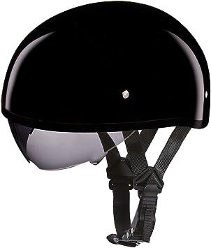 LOW PROFILE DOT Daytona HI-GLOSS WHITE w//VISOR Motorcycle Half Helmet NEW
