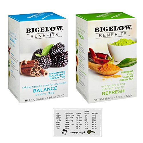 Bigelow Benefits Cinnamon and Blackberry, Turmeric Chili Matcha Green Herbal Tea Bundle (Pack of 2) + Bonus Kitchen Measure Magnet