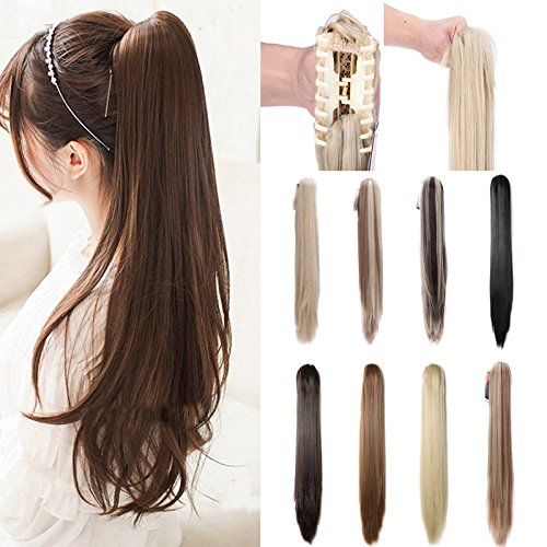 (Claw Ponytail Hair Extension One Piece Clip in with Jaw/Claw Synthetic Straight Wave Black Brown (18-26
