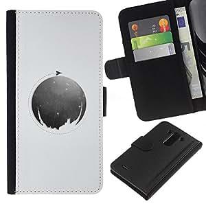 KLONGSHOP // Tirón de la caja Cartera de cuero con ranuras para tarjetas - Luna Círculo - LG G3 //