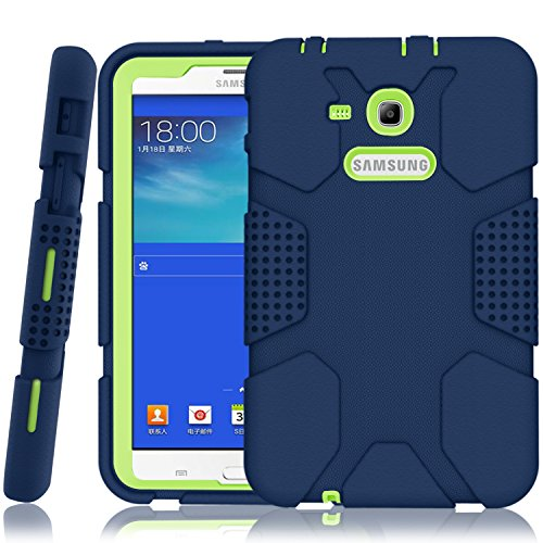 Samsung Galaxy Tab E Lite 7.0 Case, Galaxy Tab 3 Lite 7.0 Case, Hocase Rugged Heavy Duty Kids Proof Protective Case for SM-T110 / SM-T111 / SM-T113 / SM-T116 - Navy Blue / Fluorescent Green (Galaxy Case Samsung Tab)