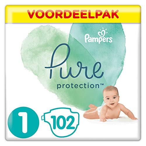 Pampers Maat 1 Pure Protection Luiers, 102 Stuks, met Hoogwaardig Katoen en Plantaardige Materialen (2-5 kg)