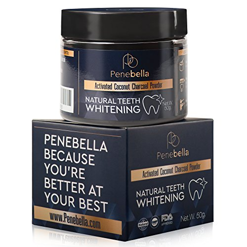 Activated Charcoal Teeth Whitening Powder - (80ml / 2.7 fl Oz) - Natural Charcoal Teeth Whitener - Coconut Tooth Whitening Product - Safe for Enamel - Fresh Mint Flavor