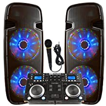 "Light up the house! - Dj System - Lighted Powered Dual 15"" DJ Speakers - 6000 Watts - Bluetooth, MP3, USB, SD, FM Radio or plug in your laptop or iPhone - Plug and Play - Light Show Included"
