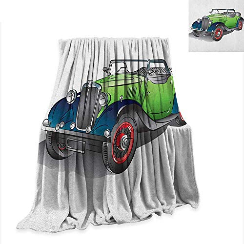Luckyee Cars Digital Printing Blanket Hand Drawn Convertible Vintage Green Car with Colorful Rims Retro Vehicle Design Print 60