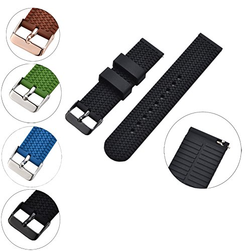 XiangMi Silicone Replacement Watch Band Quick Release Soft Rubber Strap - Waterproof Textured Tire Pattern - Choice of Colors, 18, 20 & 22mm Watch Strap for Womens Mens Watch