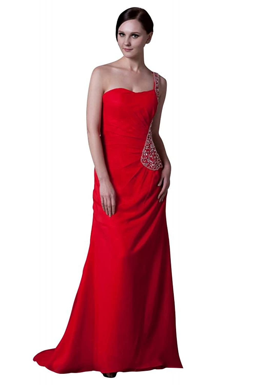 GEORGE BRIDE Red One Shoulder Beading Long Evening Dress/Bridesmaid Dress