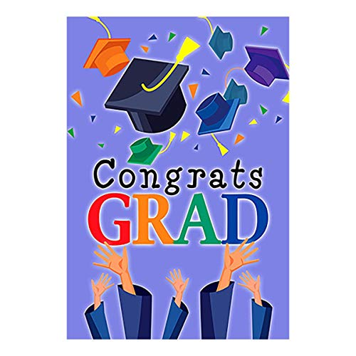 Morigins Congrats Grad Garden Flag Graduation Cap Celebrate Party Flag 12.5