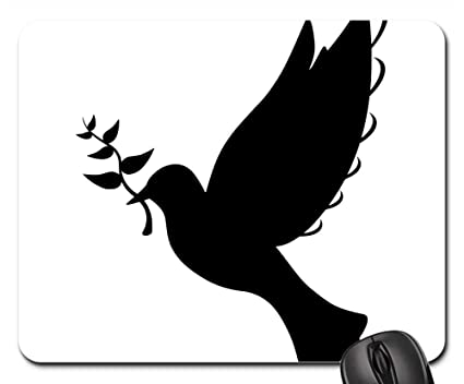 Amazon com : Mouse Pads - Silhouette Peace Dove Flying Olive